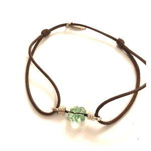 Adjustable green stone bracelet